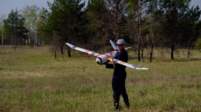 fixed wing drone in chernobyl